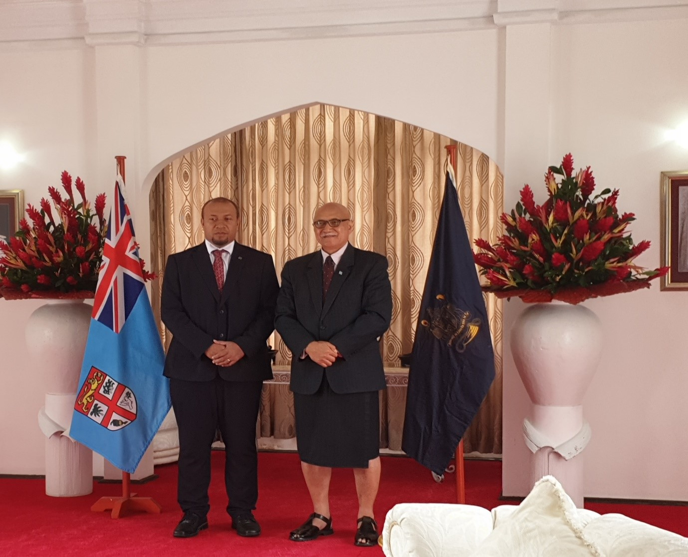 H.E. William Soaki and H.E Major-General (retired) Jioji Konrote, President of Fiji at the presentation of credentials ceremony in Suva