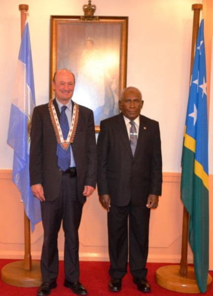 Ambassador Gobbi and Sir Frank at Government House