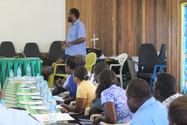 Director of External Trade Mr. George Tuti doing his presentation at the Choiseul Provincial Chambers on Tuesday.
