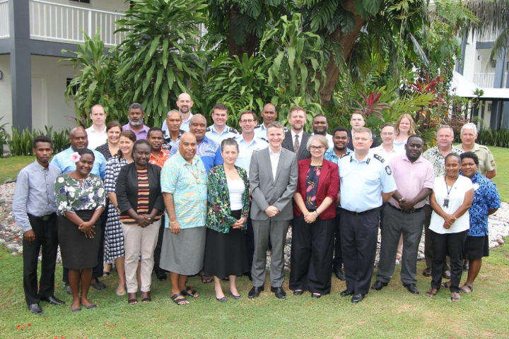 BSD Co-Chairs, Ms Kathy Klugman, First Assistant Secretary, Office of the Pacific, Australian Department of Foreign Affairs and Trade, and Mr Collin Beck, Permanent Secretary, Solomon Islands Ministry of Foreign Affairs and External Trade, with the Solomon Islands and Australian delegations