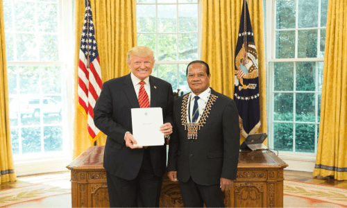 Solomon Islands Ambassador Designate to United States Presents his Credentials at the White House 21 July 2017.